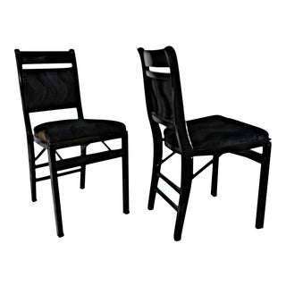Black Mohair Upholstered Folding Chairs - A Pair