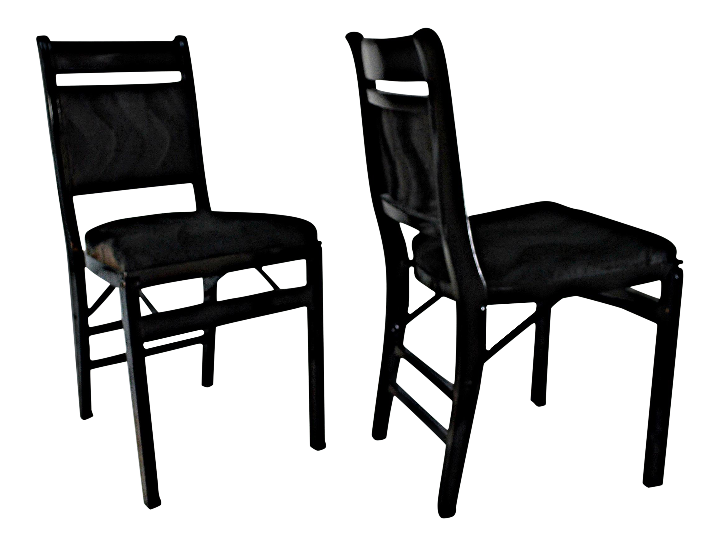 Black Mohair Upholstered Folding Chairs A Pair