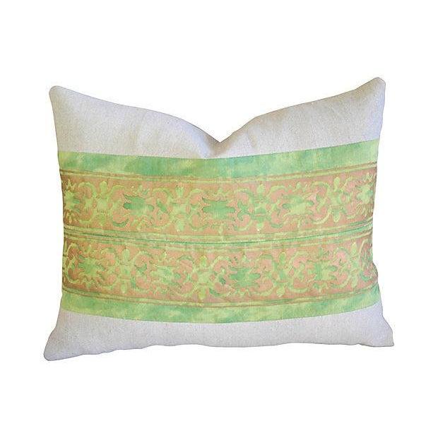 Custom Italian Fortuny Pillows - A Pair - Image 2 of 4