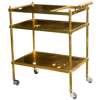French Art Deco Gilt Brass Tea Cart