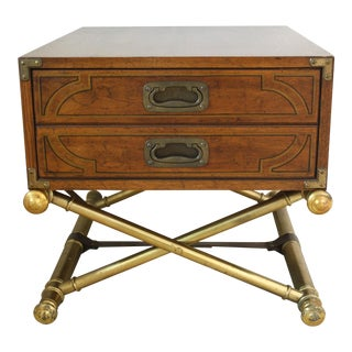 Vintage Drexel Campaign Style Side Table