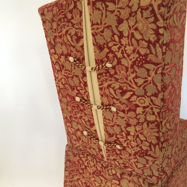 Red & Gold Brocade Dining Chairs - A Pair - Image 8 of 8