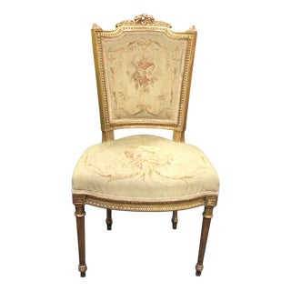 Antique French Gilt & Tapestry Side Chair
