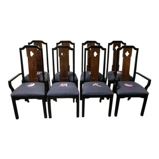 Thomasville Asian Chinoiserie Style Dining Chairs - Set of 8