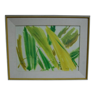 Tropical Leaves Framed Water Color by Norma Green