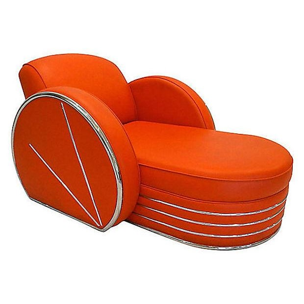 Vintage Art Deco Red & Chrome Chaise Lounge Chair - Image 1 of 4