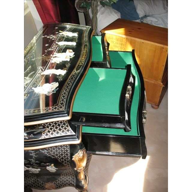 Hand Painted Black Lacquer Dresser - Image 4 of 4