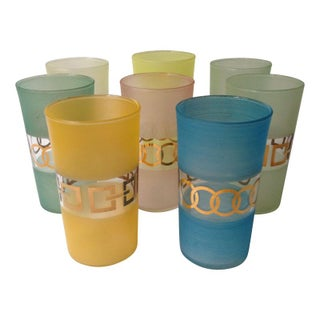 Vintage Pastel & Gold Drinking Glasses - Set of 8