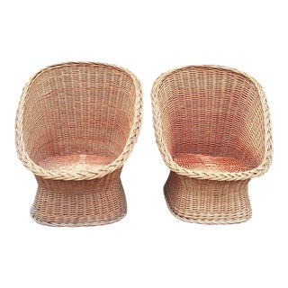 Mid-Century Wicker Pod Chairs-A Pair