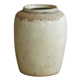 Massive Chinese Beige Glazed Stoneware Storage Jar