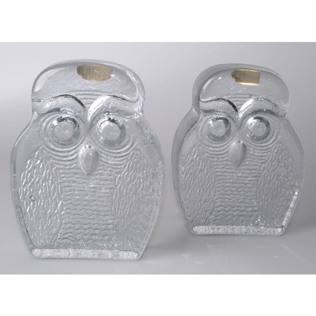 Vintage BLENKO Thick Glass Owl Bookends - Image 8 of 8