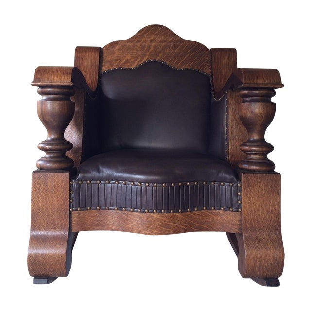 Antique Mission Style Oak & Leather Rocking Chair - Image 1 of 10