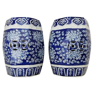 Blue & White Garden Stools, Pair