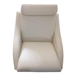 Roche Bobois White Leather Swivel Chair