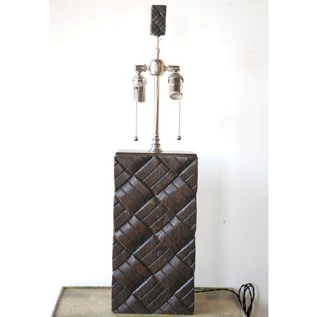 Basket Weave Wood Table Lamp - Image 3 of 7