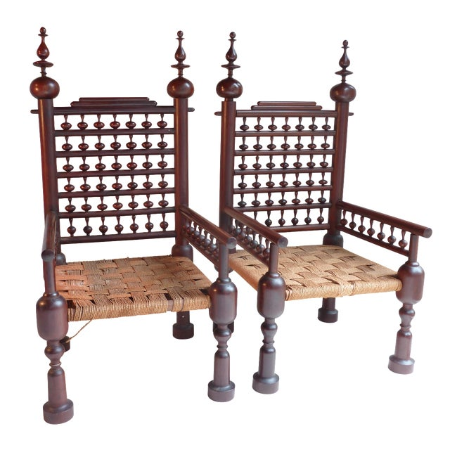 Image of Indian Turned Rosewood Chairs - A Pair