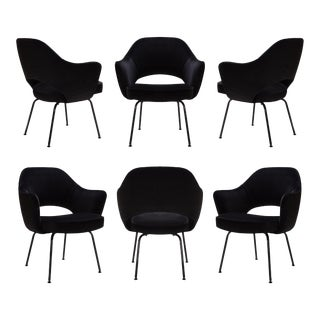 Saarinen Executive Arm Chairs, Black Edition - Set of 6