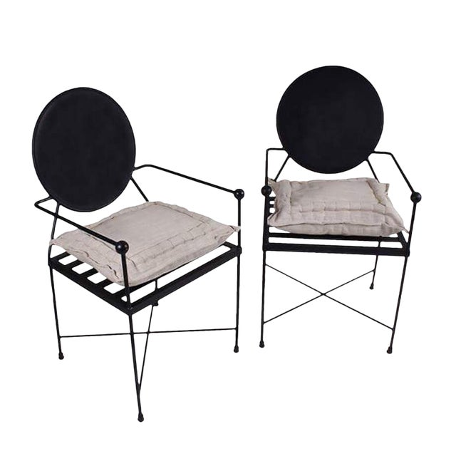 Round Back Metal Chairs - A Pair - Image 1 of 2