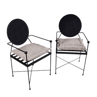 Round Back Metal Chairs - A Pair