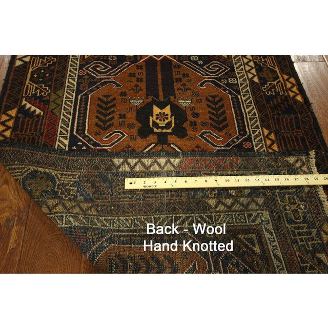 "Brown & Navy Balouch Runner Rug - 3' x 9'10"" - Image 9 of 9"
