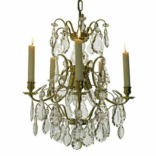 Baroque 5 Candle Polished Brass Chandelier