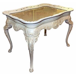 Carved White Coffee Table with Glass Tray