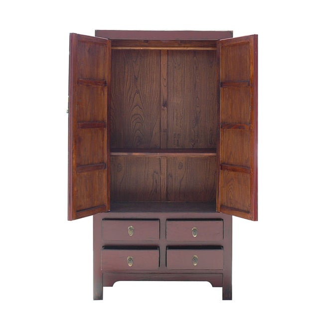 Chinese Asian Red Armoire Cabinet - Image 4 of 6