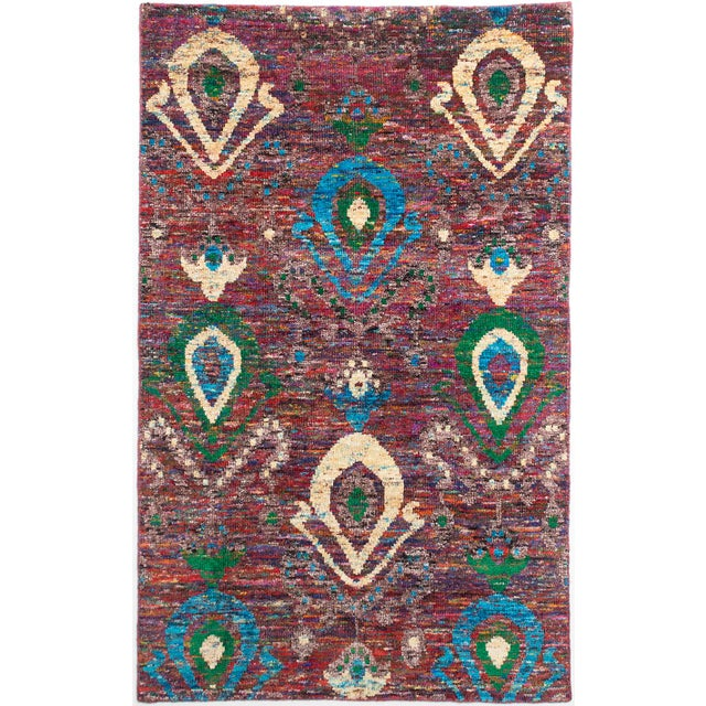 """Hand-Knotted Sari Silk Indian Rug - 4'11"""" X 7'10"""" - Image 1 of 2"""