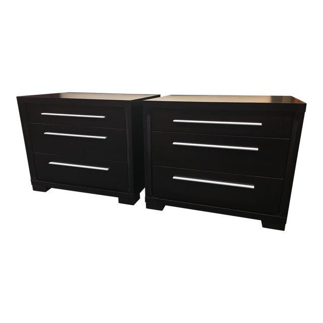 Contemporary 3-Drawer Nightstands - A Pair - Image 1 of 8