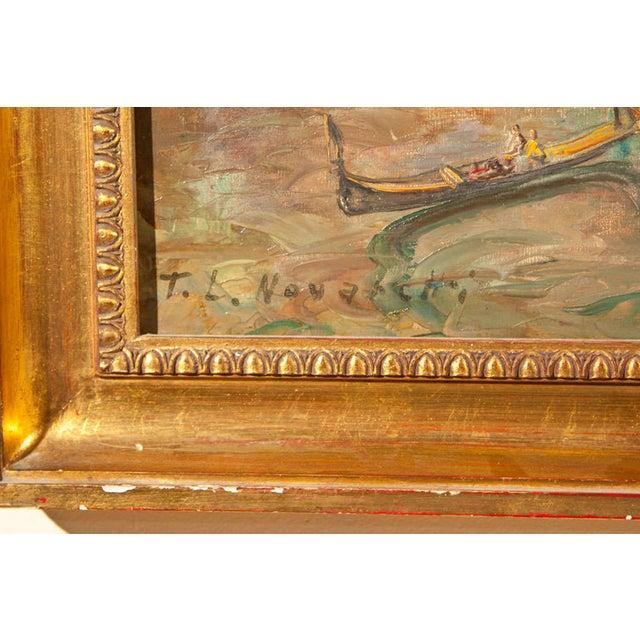 Oil Painting of Venice Harbor by T.L. Novaretti - Image 5 of 9