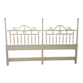 Vintage Chinese Chippendale Faux Bamboo Fretwork King Size Headboard