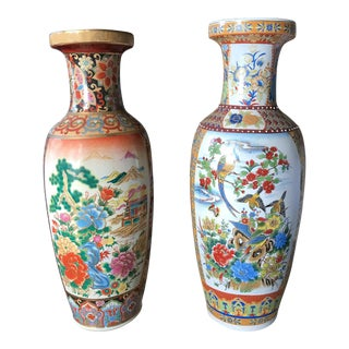 "Pair, Large 24"" H Old Japanese Satsuma Vases"