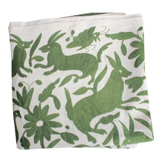 Mexican Otomi Green Hand-Woven Textile