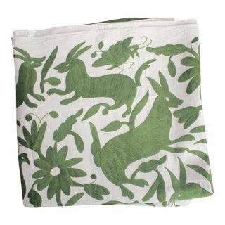 Mexican Otomi Green Hand-Woven Textile
