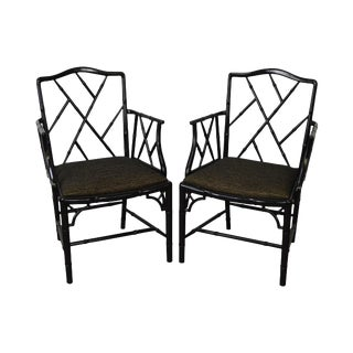Chinese Chippendale Faux Bamboo Pair of Black Arm Chairs