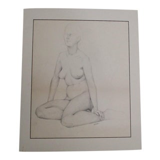 Vintage Signed Female Nude Pencil Drawing