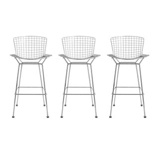 Chrome Bertoia Bar Stools - Set of 3