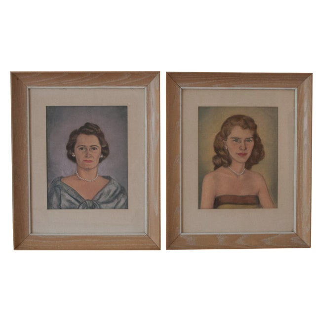Vintage Framed Pastel Lady Portraits - Pair of 2 - Image 1 of 8
