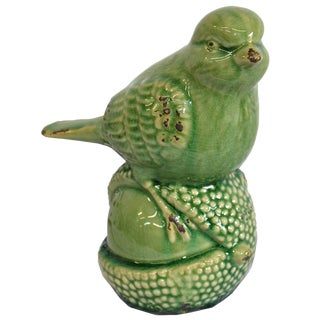 Green Bird on a Nut Figurine