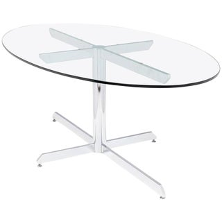 Knoll Style Oval Glass Chrome Dining Table