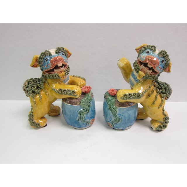 Vintage Bright Colored Foo Dogs With Drums - Pair - Image 6 of 6
