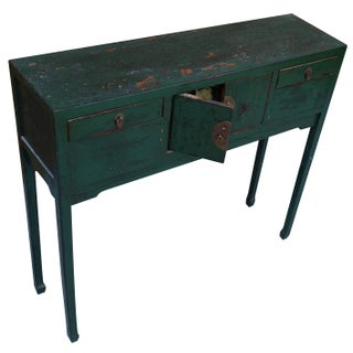 Green Distressed Asian Console Table
