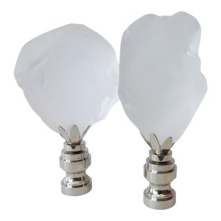 Clear Frosted Sea Glass Finials - A Pair