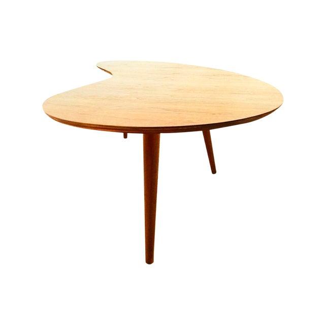 American Mid Century Modern Atomic Age Small Patio Round: Atomic Boomerang Walnut Coffee Table