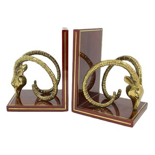 Vintage Brass Ibex Bookends - a Pair