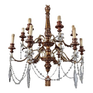 19th Century French Twelve Light Gild Wood and Crystal Chandelier