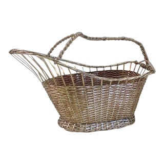 1970s Silver Plate Woven Wine Bottle Basket