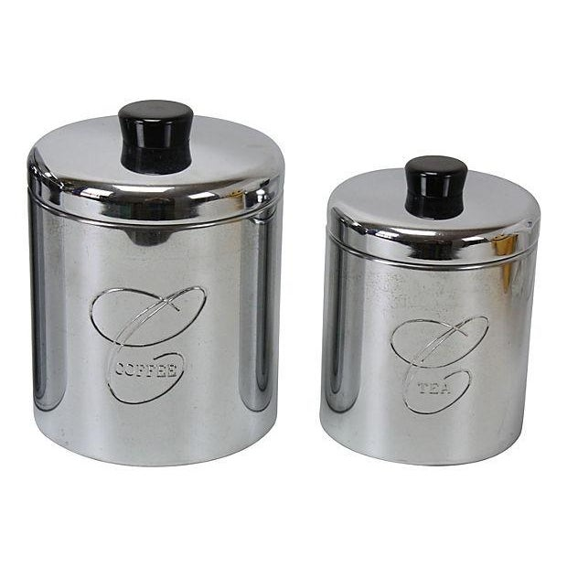 Image of Chrome & Bakelite Kitchen Canisters- Set of 4