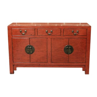 Chinese Antique Orange/Red Elmwood Sideboard