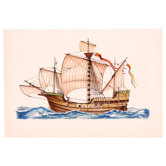 Santa Maria Ship Watercolor - Image 1 of 3